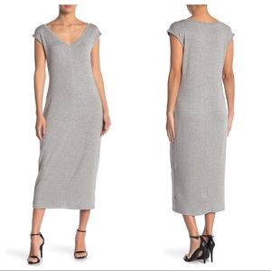 NEW Philosophy Apparel Gray V-Neck Midi Dress M